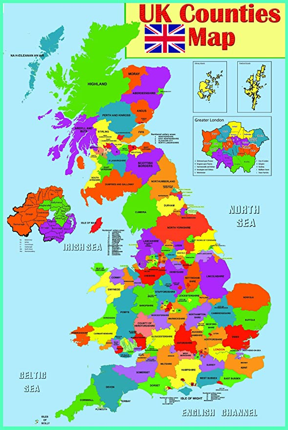 Map Of Uk laminated Educational wall poster UK counties map | GB Great