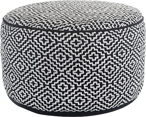 Klear Vu Maison Living Room Decorative Fabric Round Ottoman, Black White