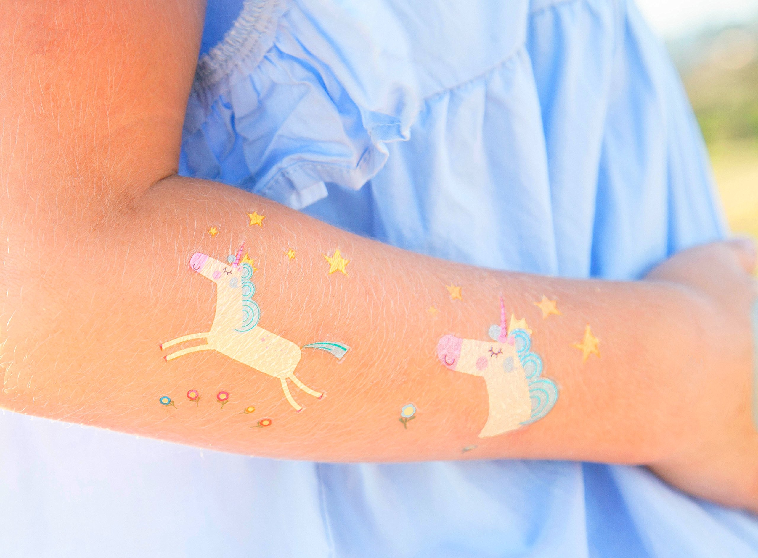 Unicorn Temporary Tattoos for Kids - Unicorn Party Favors, Birthday Decorations and Supplies - Non-toxic and Waterproof - Pack of 16 sheets (32 Fake Tattoos) 9