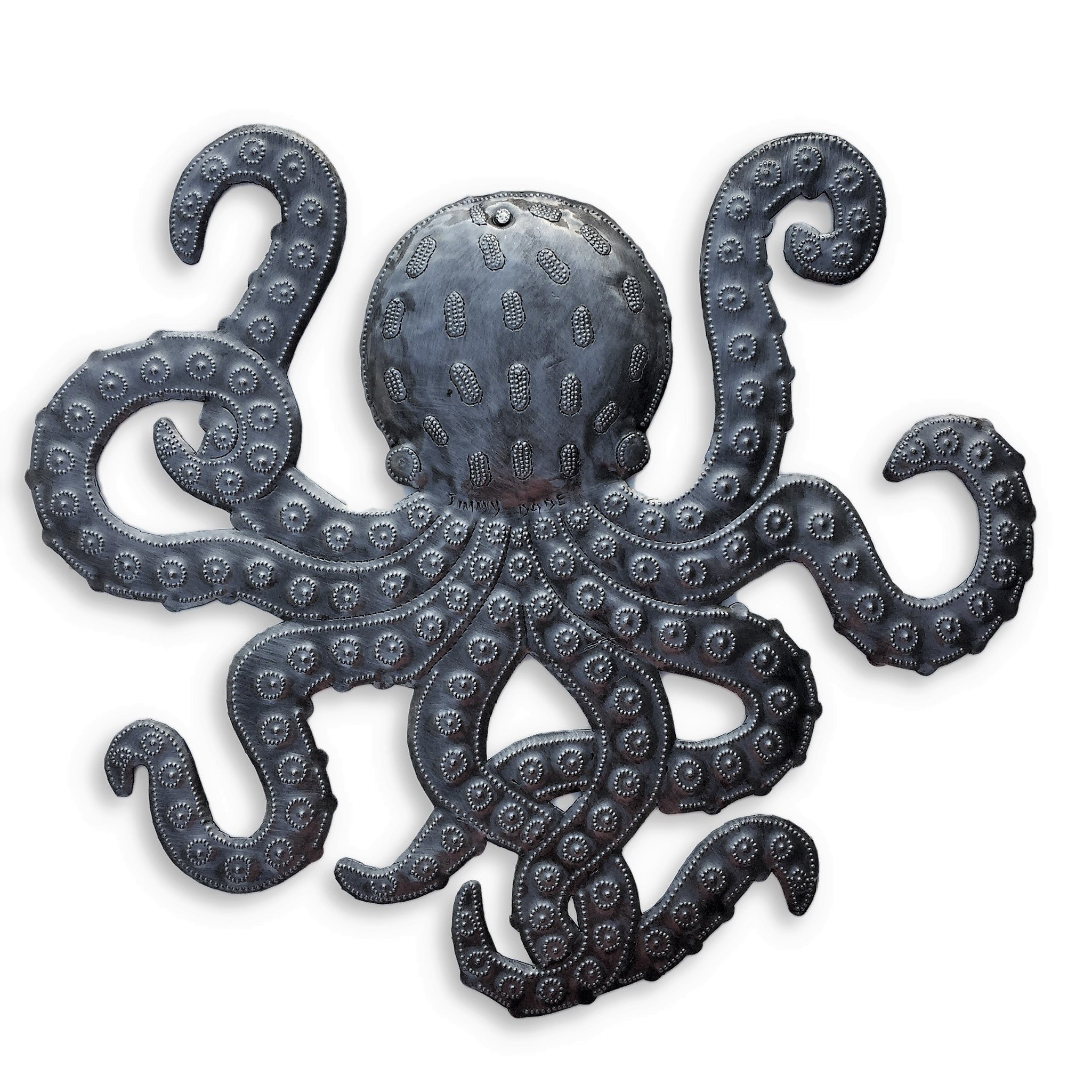 Octopus Metal wall Art, Sea Life Ocean Decor, Ocean Themed Artwork 14''x 15''
