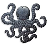 Octopus Metal Wall Art, Sea Life Ocean Decor, Beach Themed Artwork, Decorative Figurines 14 in. x 15 in.