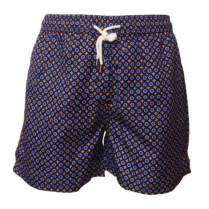 Costume Uomo Mare Pantaloncino Blu Quadretti Gialli Boxer Corto Vintage  Bermuda Da Bagno Piscina Shorts Con Tasche Elastico Calzoncino Mare Piscina  Nuoto ... 3314de3eee9