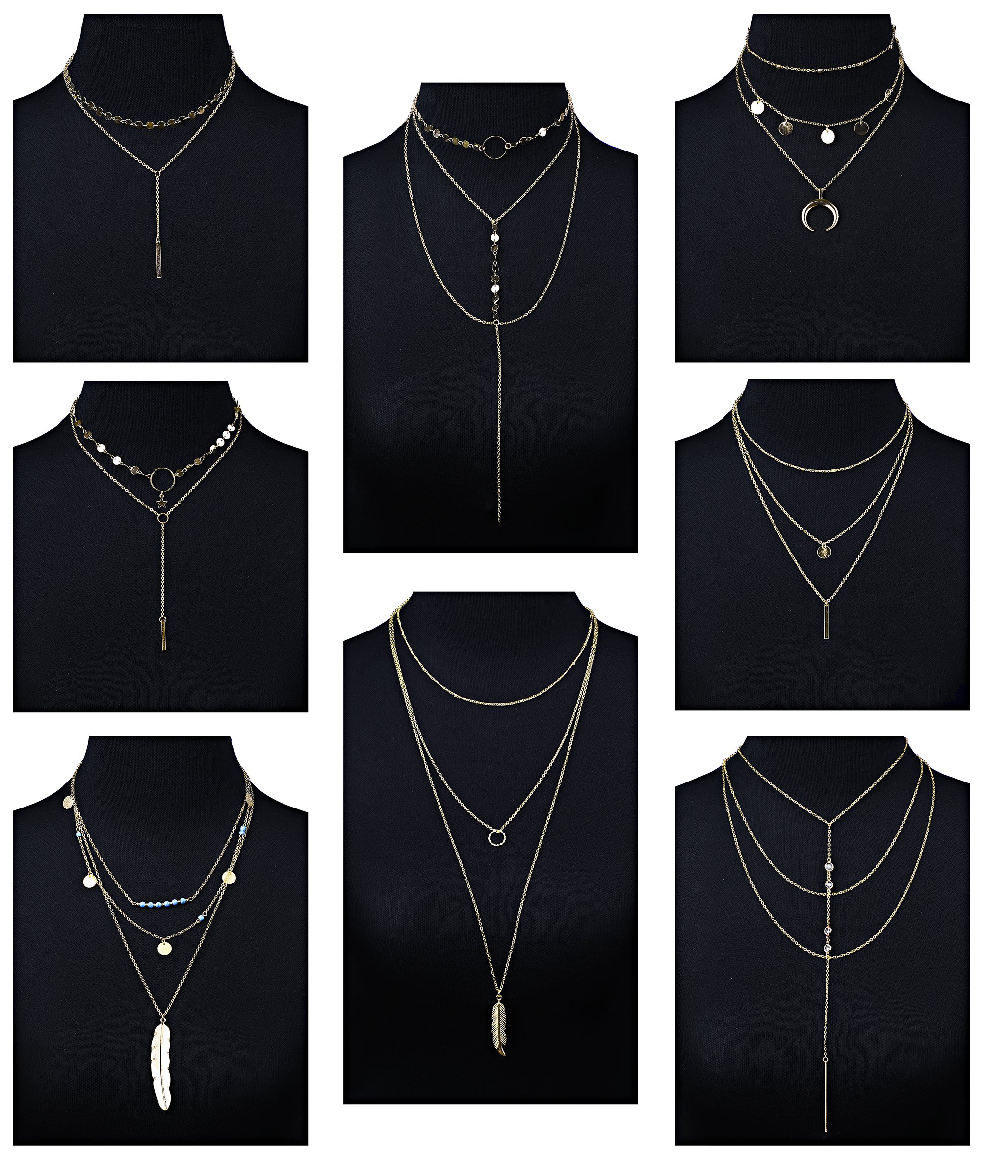 Milacolato 8 Pcs Simple Layered Choker Necklace Sexy Long Chain Pendant Boho Y Necklace For Women Girls