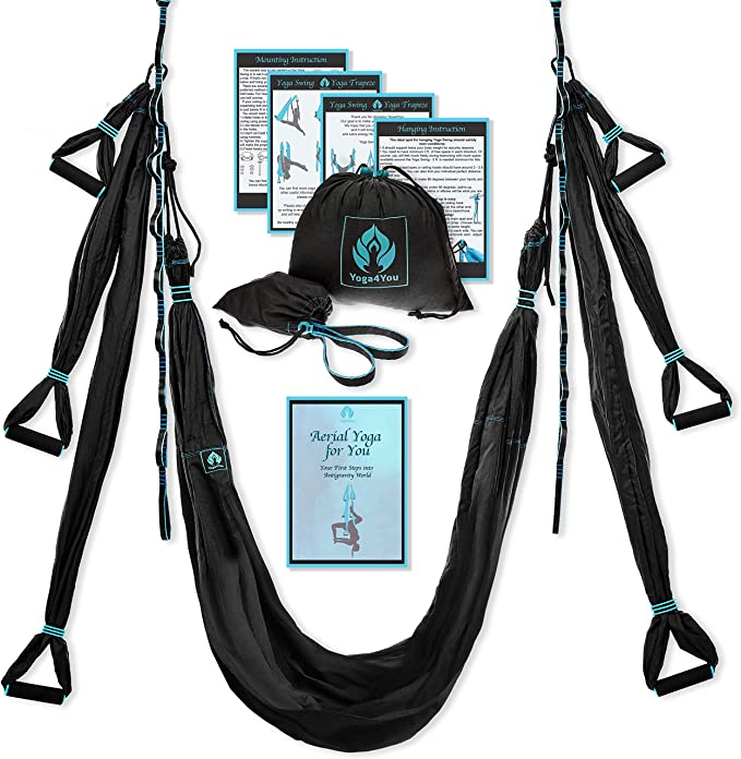 Yoga4You Aerial Yoga Swing Set - Yoga Hammock Swing - Trapeze Yoga Kit - 2 Extension Straps - Wide Flying Yoga Inversion Tool - Antigravity Ceiling ...