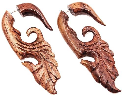 Falso Dilatador Pendientes Piercing madera par marrón hombre ...