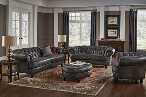 Hydeline Newport 100% Leather Set, Sofa, Loveseat, Chair and Ottoman, Gray