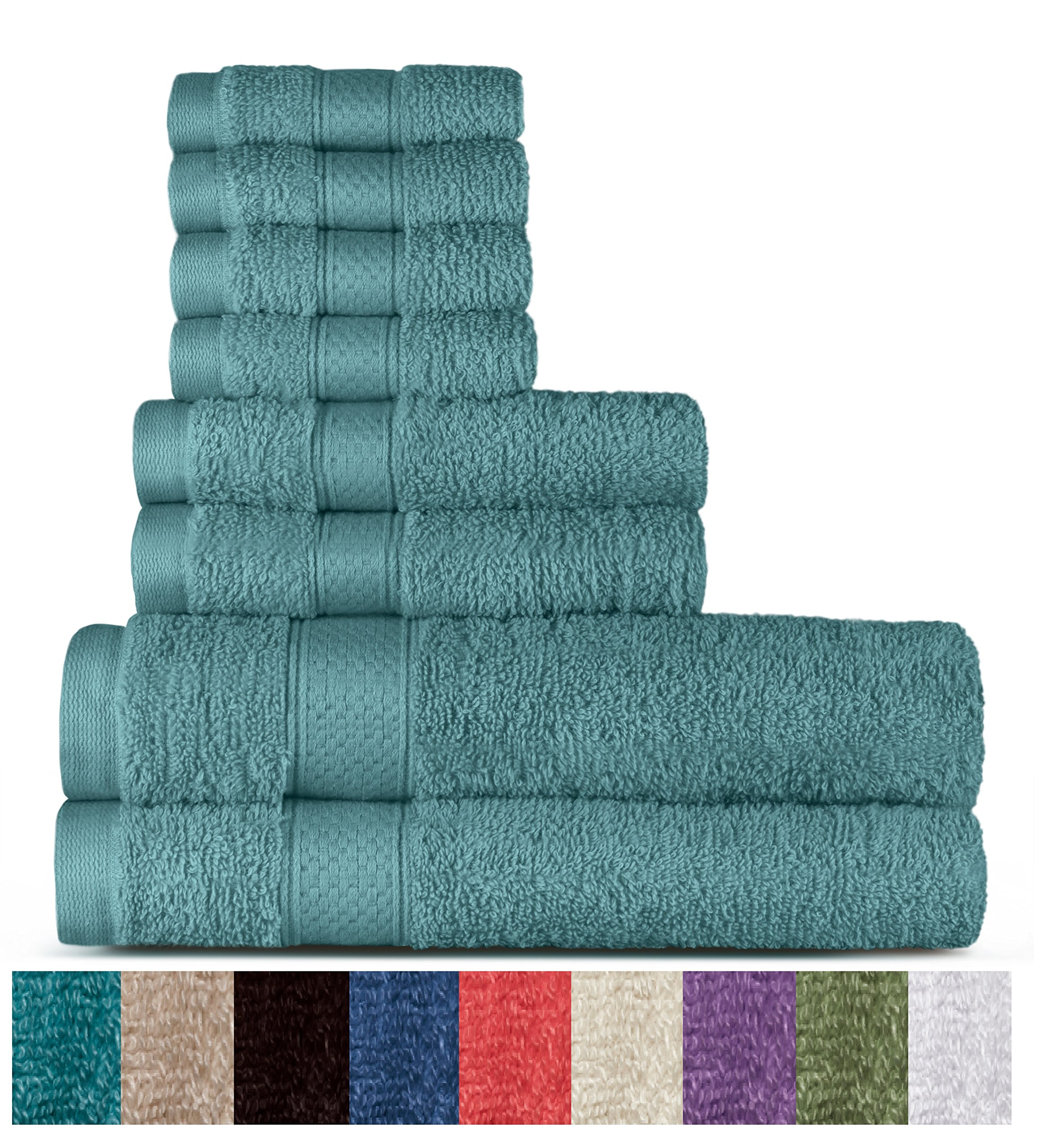 100% Cotton 8 Piece Towel Set (Duck Egg); 2 Bath Towels, 2 Hand Towels and 4 Washcloths, Machine Washable, Super Soft by WELHOME