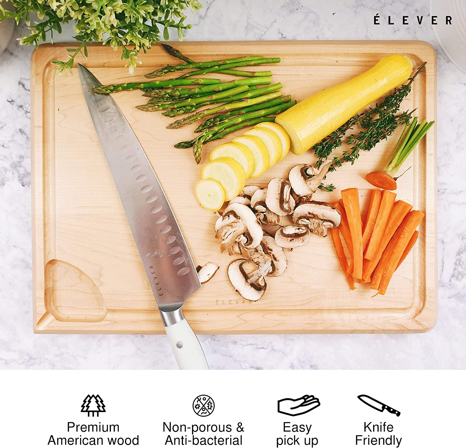 ÉLEVER Cutting Board - Cutting Boards for Kitchen, Juice Well & Deep Grooves, Cheese Board | 2in1 Reversible USA Premium Wooden Chopping & Charcuterie Board