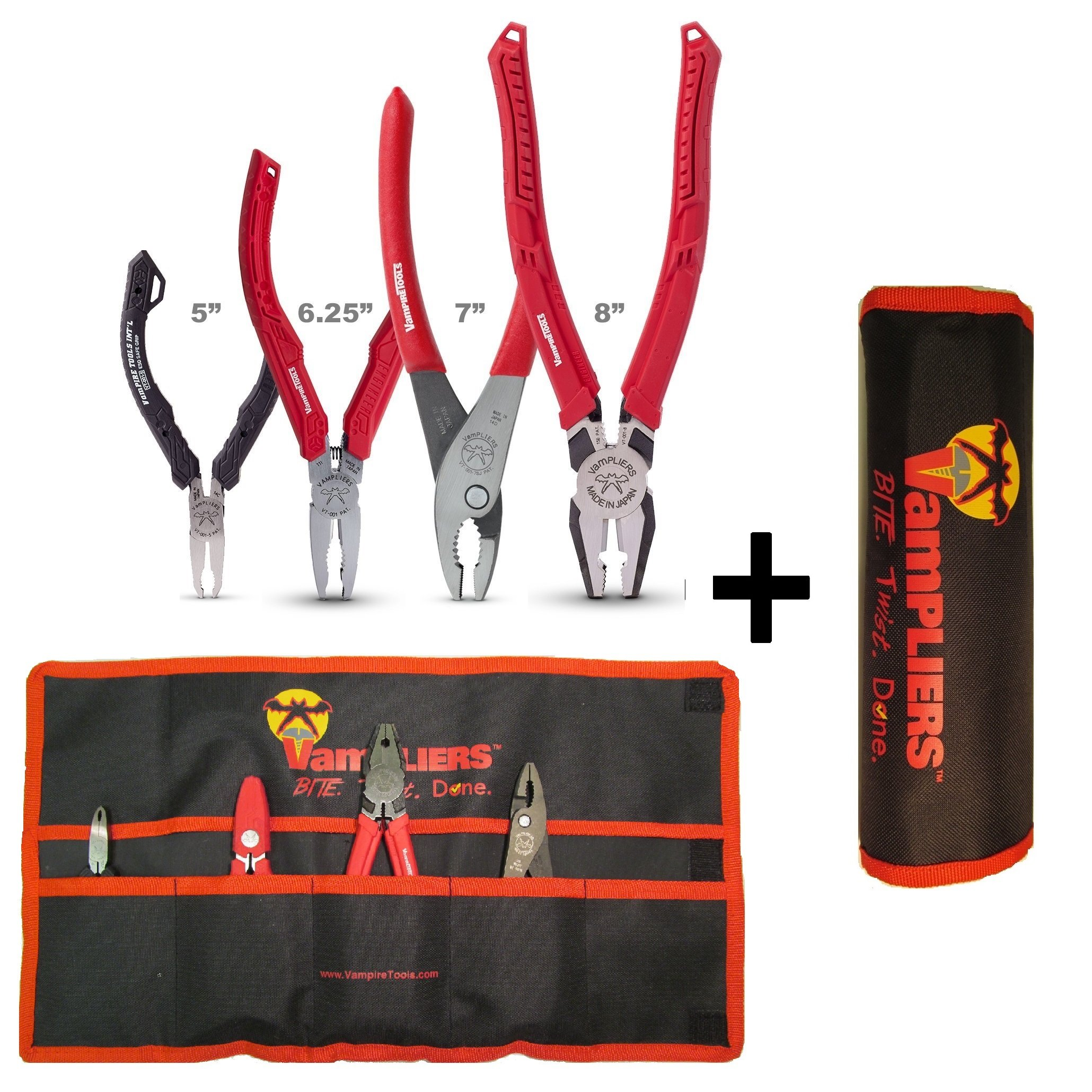 VAMPLIERS. Best Made Pliers! 4-PC Set S4AP Specialty Screw Extractions Pliers. Extract Stripped Stuck Security, Corroded or Rusted Screws/Nuts/Bolts With Tool Pouch by Vampire Professional Tools International