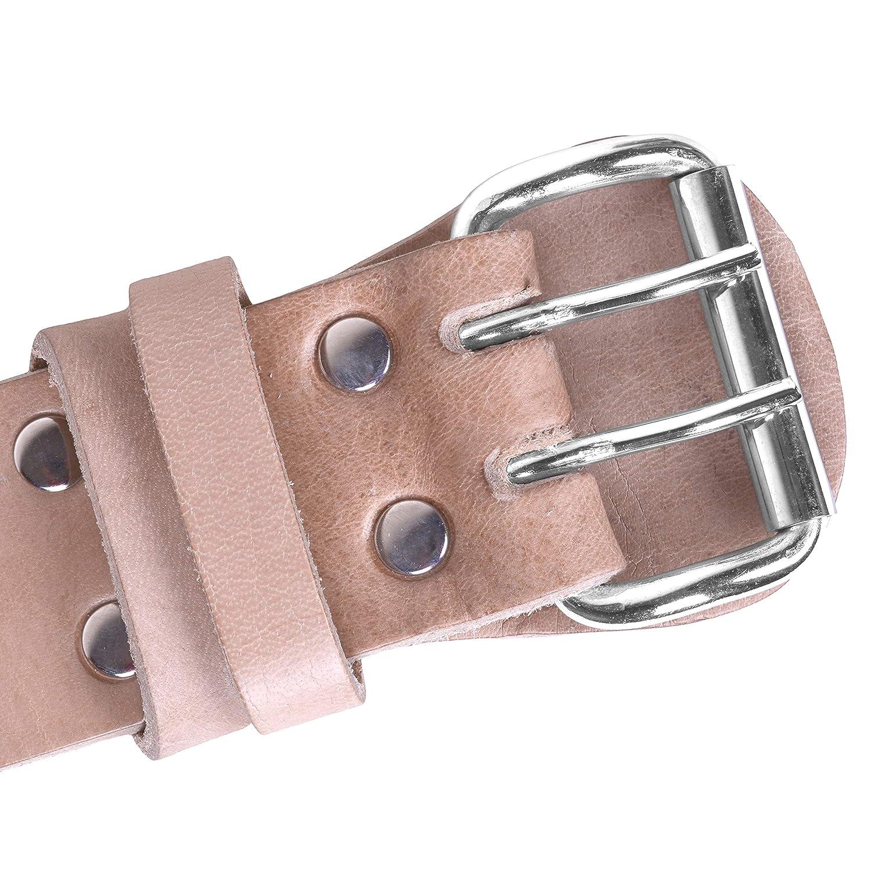 DEFY Genuine Leather Adjustable Weightlifting Belt Heavy Duty Bodybuilding Belt Crossfit Training Belt Powerlifting Gym Belt Single Piece with Steel Buckle Natural Color
