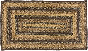 "IHF Home Decor Braided Rug Cappuccino Design Rectangle Area Carpet Jute Fabric 36"" x 60"""