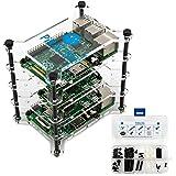 PiRacks Raspberry Pi (3, 2, 1 A+, 1 B+, Zero) Clear Acrylic 4-Stacker Rack Enclosure Box Storage System Case