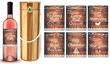 L u0026 P Designs Cylinder Wine Wooden Gift Box with Couple Milestones Wine Labels Wedding & Amazon.com: L u0026 P Designs Cylinder Wine Wooden Gift Box with Couple ...