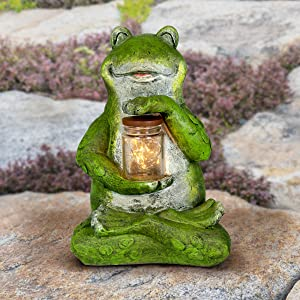 """Exhart Solar Frog Statue with LED Firefly Lights Glass Jar - Green Frog Resin Garden Statue Holding a Mason Jar w/Firefly String Lights - Cute Frog Decor for Garden, Yard, Patio, 7"""" L x 6"""" W x 11"""" H"""