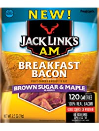 Jack Links A.M. Breakfast Bacon, Brown Sugar & Maple, 2.5 oz. Bag – Flavorful Ready to Eat Meat Snack with 11g of Protein...
