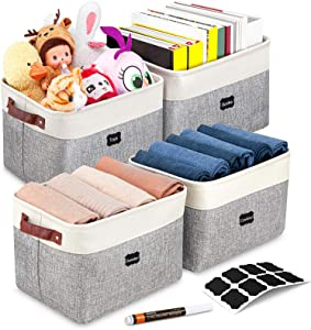 Artsdi Set of 4 Large Foldable Storage Baskets, 8 Labels & a Pen, Faux Leather Sturdy Handles, Collapsible Cationic Fabric Storage Bins, Durable Organizer for Shelf Nursery Home Closet Office,Gray & White