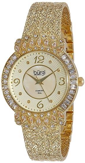 Burgi BUR120YG - Reloj dorado para mujer con correa texturizada y bisel tachonado de cristales: Amazon.es: Relojes