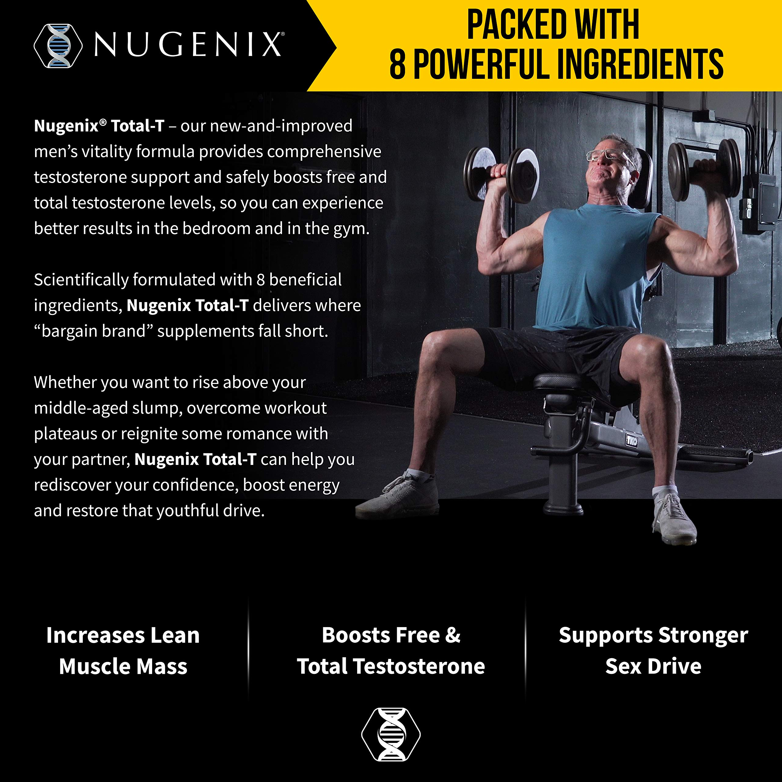 Nugenix Total-T: Men's Total Testosterone Boosting Formula. All New, High Potency, High Bioavailibility Testosterone Boosting Ingredients. Helps with Energy, Muscle, Libido, Stamina, and Drive by Nugenix (Image #8)