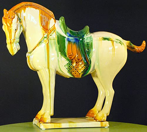 Yuyi Oriental Home D cor, 17 Porcelain Horse, Antique Replica of Tang Dynasty in China A.D.618-907 -China Horse, Tricolor Sancai Ceramic, Brown, Green and White Statue, Sculpture, Figurine-White