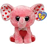 Ty Tender Beanie Boos elephant, pink with red hearts