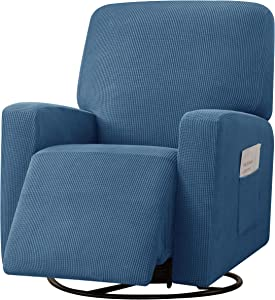 CHUNYI Stretch Recliner Chair Loveseat Sofa Slipcover,Recliner Couch Cover with Side Pocket Settee Coat with Elasticity,Checks Spandex Jacquard Fabric,4 Pieces Recliner Chair,Denim Blue