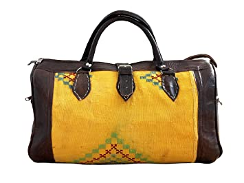 980cb63a637f Image Unavailable. Image not available for. Color  Leather Travel Bag -  Handmade Moroccan Weekender (Yellow) - Quality Accessories ...