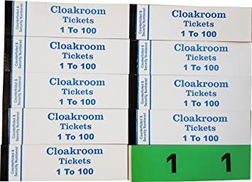 10 books of 1 100 cloakroom raffle tombola tickets 10