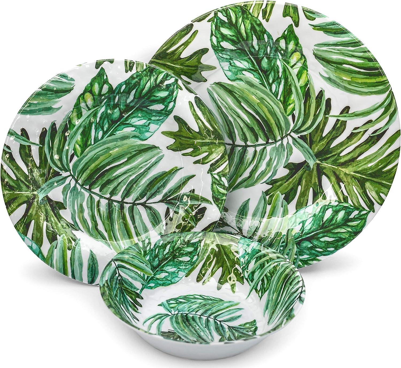 Melamine Dinnerware Set - Melamine Plates 12 Pcs Outdoor Plates Summer Plates and Bowls Sets Dinnerware Melamine Plates Ideal Camping Dish Set Dinnerware Set for 4 Dishwasher Safe (California Palm)