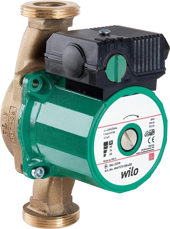 Wilo 4029062 Star-Z 25/2 EM 230V - Bomba Circuladora para Agua Caliente Sanitaria, Carcasa de Latón