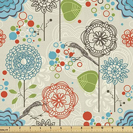 Amazon Com Ambesonne Floral Fabric By The Yard Retro Doodle Flower Field Dandelions Daisy Birds Circles Cheerful Image Decorative Fabric For Upholstery And Home Accents 1 Yard Cream Blue