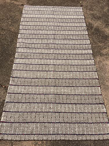 Amazoncom Handwoven Striped Rug Chimayo Natural Dyed Wool Brown