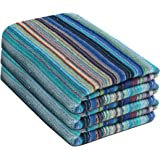 Fresh From Loom Towel for Bath, Soft Cotton Towel - 3pc Set, 450 GSM, Light Weight, 100% Cotton Fabric, Color Multi Strip, Size-27 x 54 Inch by Fresh From Loom