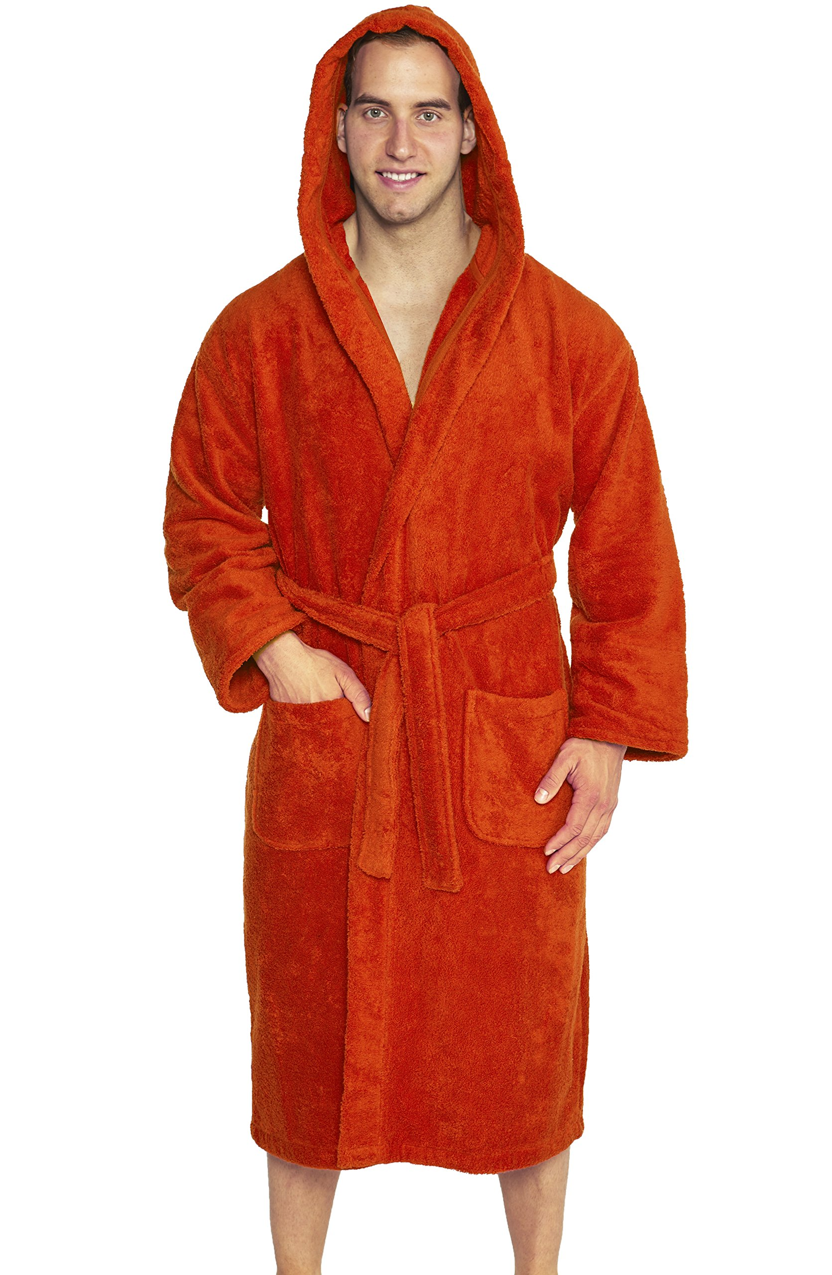 TurkishTowels Parador Full Length Hooded Terry Bathrobe Unisex, 100% Combed Pure Turkish Cotton, Made In Turkey,Rust,One Size Fits Most