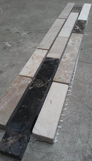 Good Mosaik Bordre X Cm Naturstein Fliesen Braun Creme Mix Bad Dusche B  With Bordure Badezimmer Braun