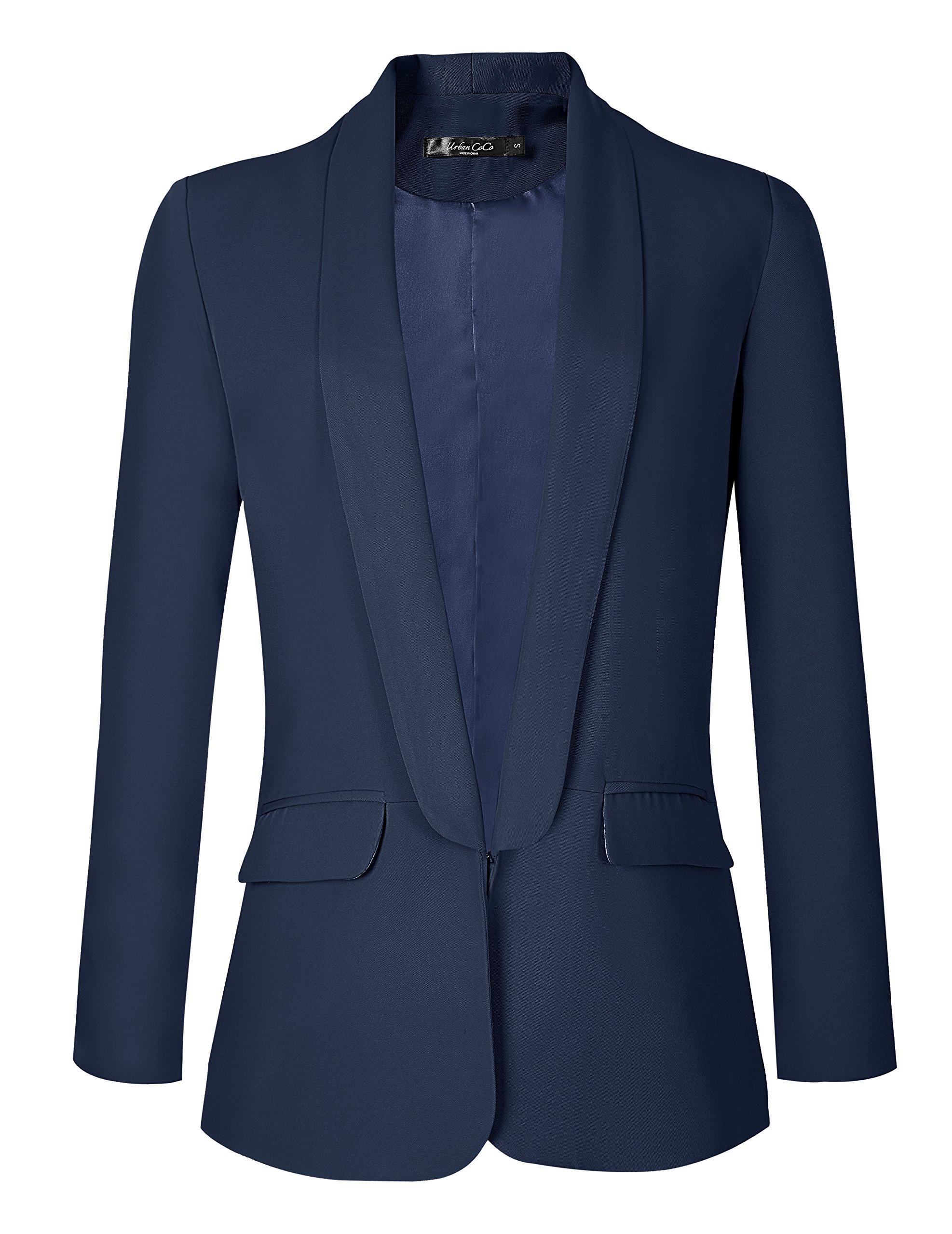 Urban CoCo Women's Office Blazer Jacket Open Front (L, Navy Blue)