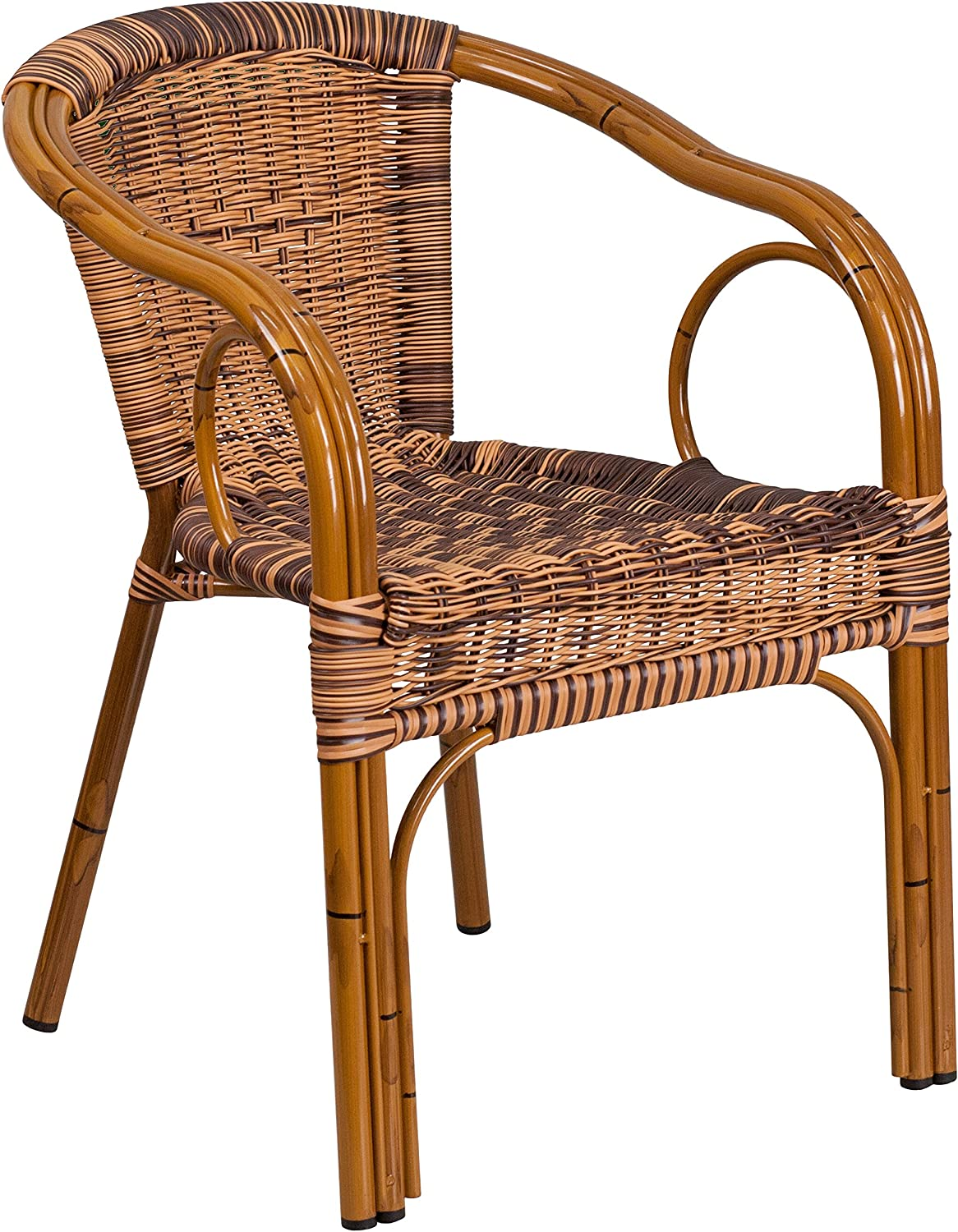 Flash Furniture Cadiz Series Burning Brown Rattan Restaurant Patio Chair with Dark Red Bamboo-Aluminum Frame