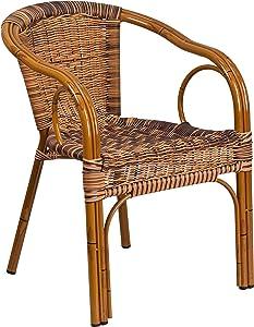 Flash Furniture Cadiz Series Burning Brown Rattan Restaurant Patio Chair with Dark Red Bamboo-Aluminum Frame