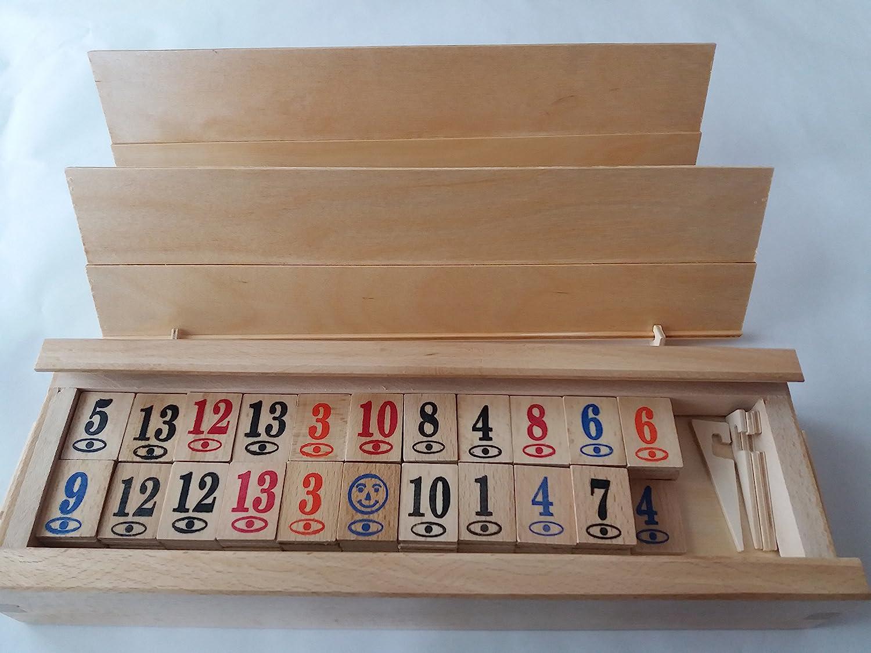 Grand jeu complet en bois complet rami à la main de rummikub jeu enfants jeu de stratégie de famille jeu de société dans un grand cadeau de boîte en bois