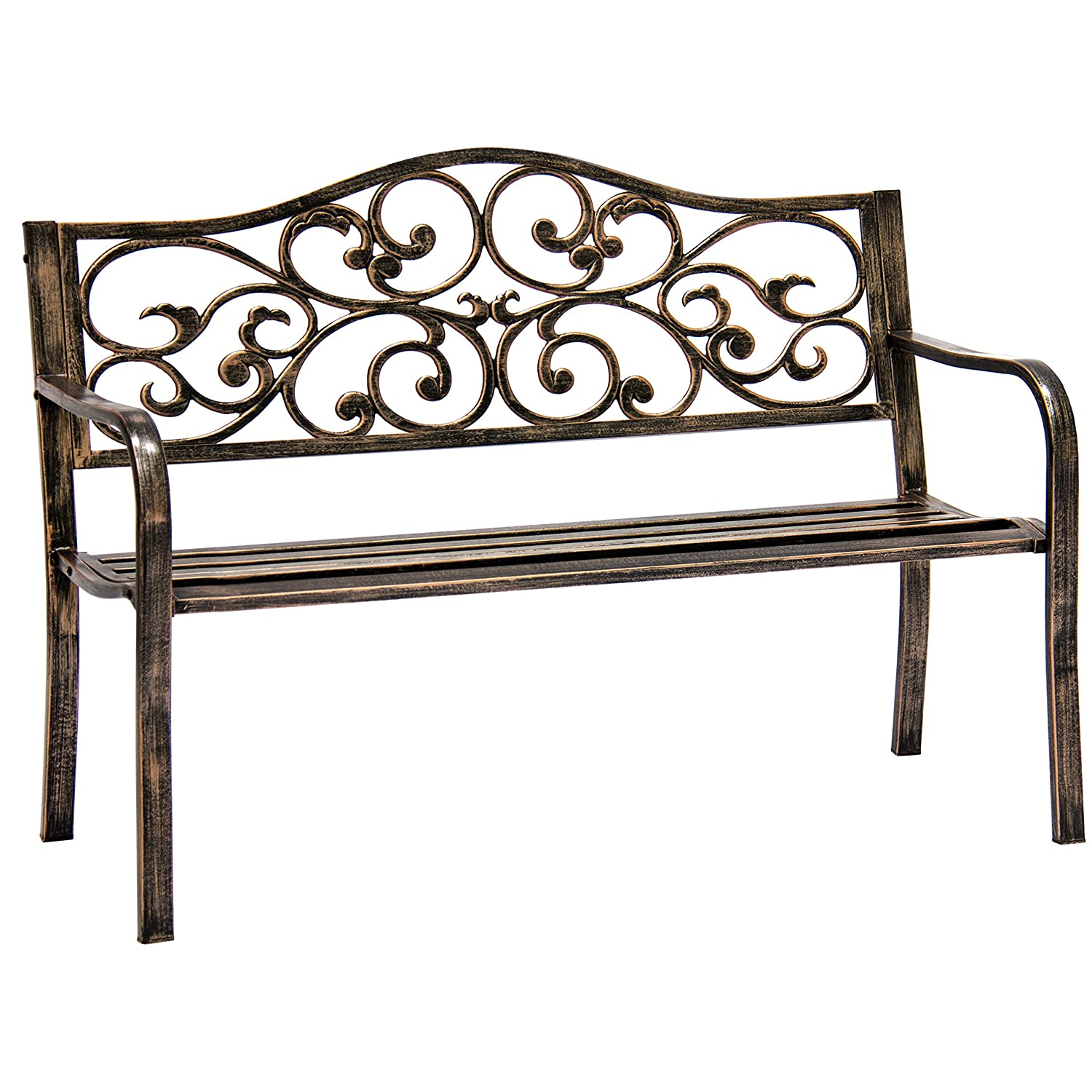 Best Choice Products 50in Classic Metal Patio Garden Bench for Yard, Porch w/Decorative Floral Scroll Design - Bronze