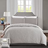 Chic Home 3 Piece Ora Heavy Embossed and Embroidered Quilted geometrical pattern REVERSIBLE printed Queen Comforter Set Silver