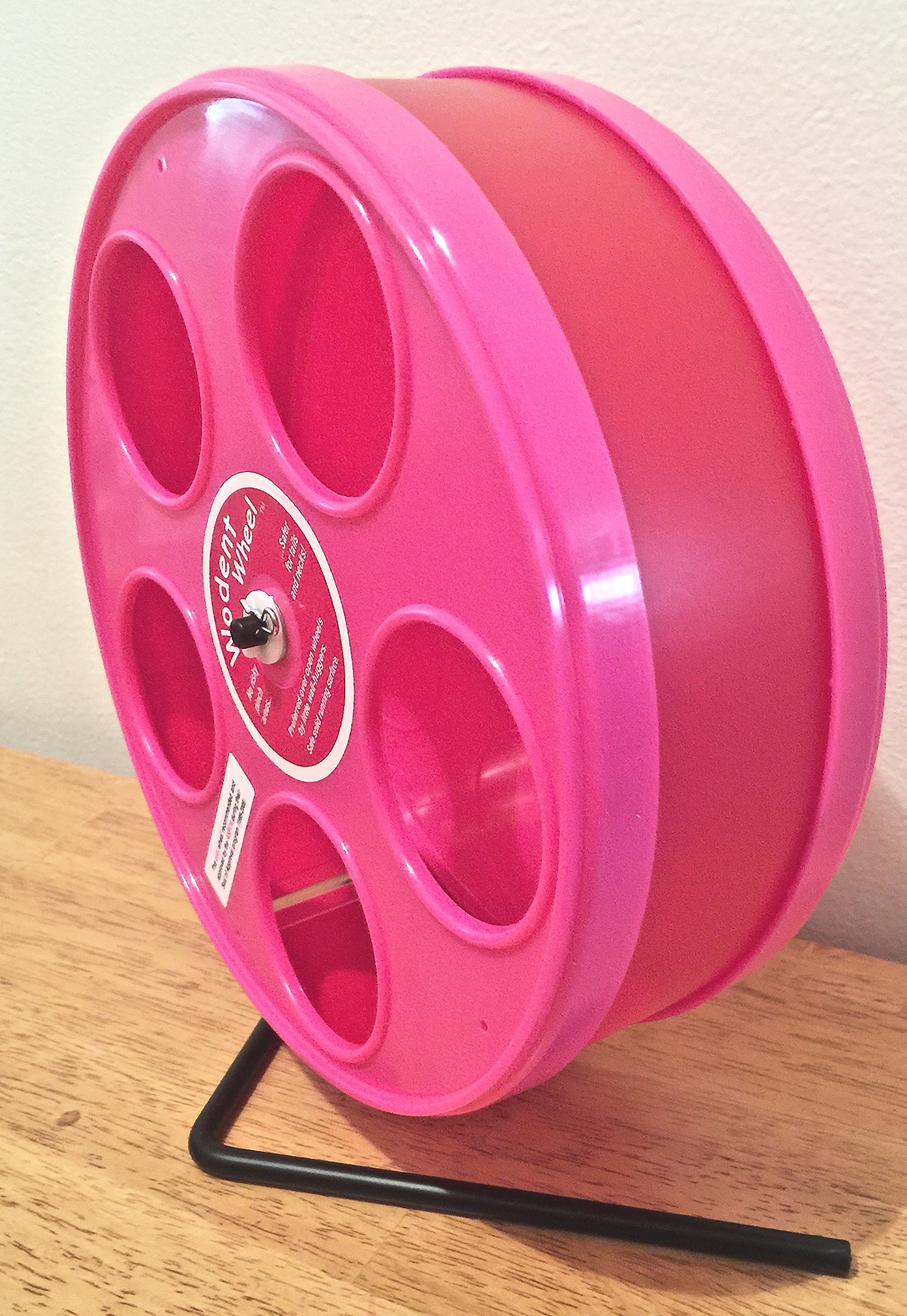 SUGAR GLIDER/HAMSTER 8'' DIAMETER EXERCISE 'WODENT' WHEEL IN ASST. COLORS (RED W. PINK PANELS)