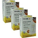 Medela Pump & Save Breastmilk Bags 50 count - 5oz/150ml bags - 2 adapters(Quantity of 3)
