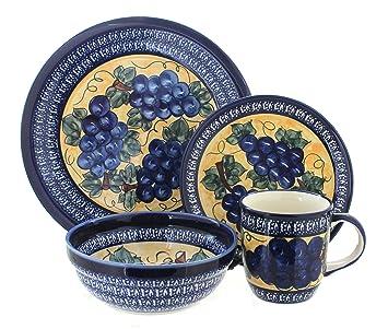 Polish Pottery Grapes 4 Piece Dinnerware Set with Cobalt Trim  sc 1 st  Amazon.com & Amazon.com: Polish Pottery Grapes 4 Piece Dinnerware Set with Cobalt ...