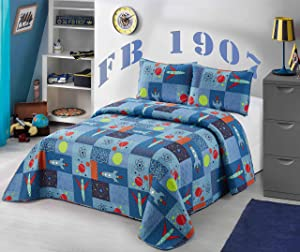 Better Home Style Blue Spaceship Rocket Spacecraft Universe Galaxy Cosmos Planets Themed Kids/Boys/Toddler 3 Piece Coverlet Bedspread Quilt Set with Pillowcases # Spaceship (Queen/Full)