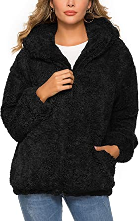 RNTOP Fashion Women Ladies Faux Warm Denim Jacket Zipper Up Front Hooded Coat Plush Outwear Pockets