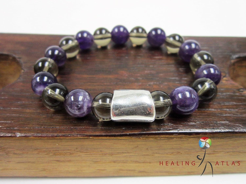Meditation Mala Anxiety Relief Healing Energy Reiki Smoky Quartz Bead Adjustable Cord Bracelet Protection Bracelet Healing Crystal