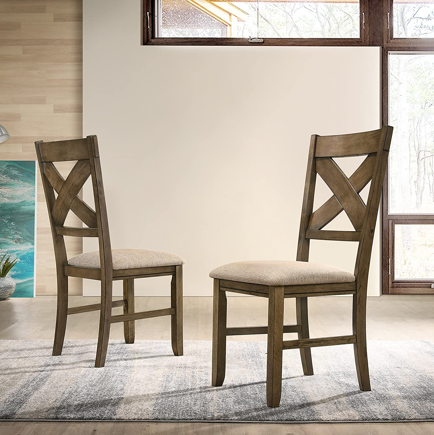 Roundhill Furniture Raven Wood Fabric Upholstered Dining Chair Maple