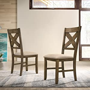 Roundhill Furniture Raven Wood Fabric Upholstered Dining Chair, Maple