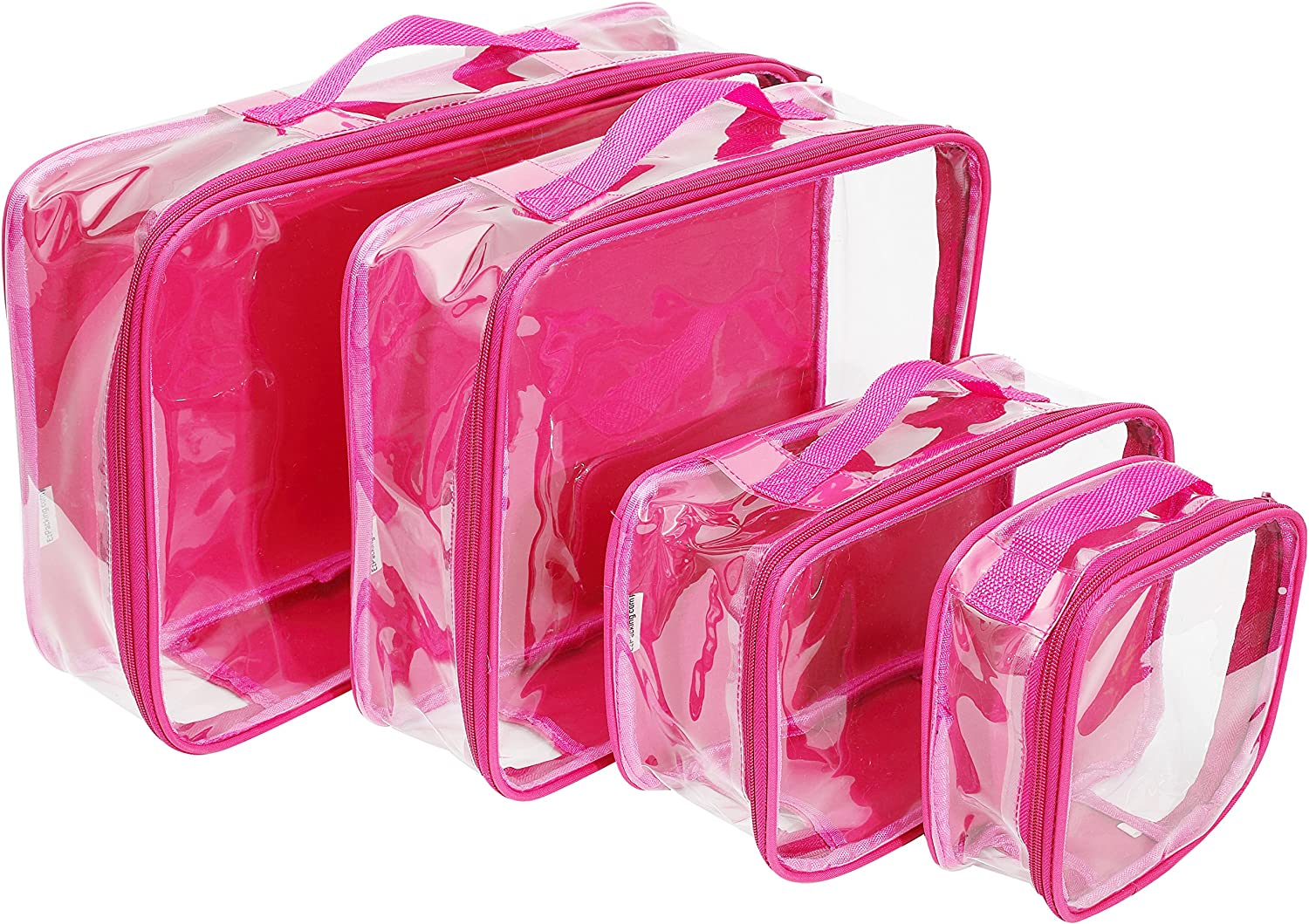 Clear Travel Packing Cubes Set of 4 for Carry On (XS, Small, Medium, Large) / See-Through Clothes Organizer Dividers for Suitcase / Transparent Vinyl PVC Cell Pouches for Luggage (Pink)