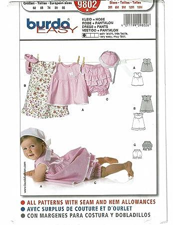 Burda Schnittmuster 9802 Babykleid Gr. 62-86: Amazon.de: Küche ...